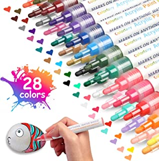 28 Colors Acrylic Paint Marker Pens with Fine & Medium Reversible Tip, Colorfairy Water Based Paint Set for Rock Painting, Ceramic, Glass, Wood, Metal, Canvas, Fabric
