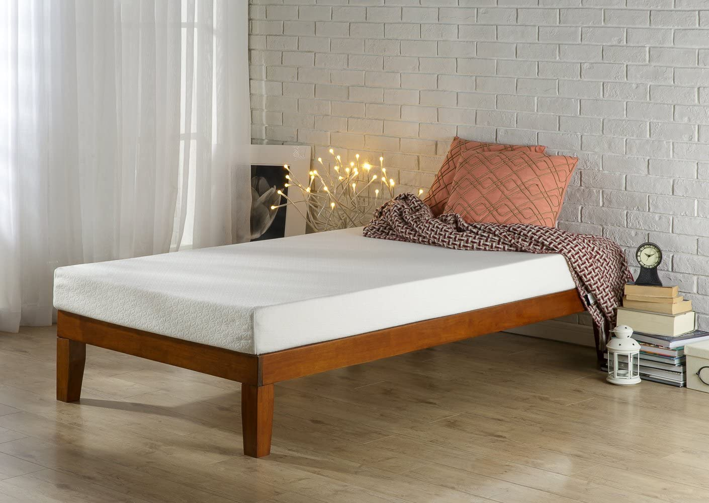 Zinus 12 Inch Wood Max 56% OFF Platform Bed Boxspring Fresno Mall Needed No Slat Su