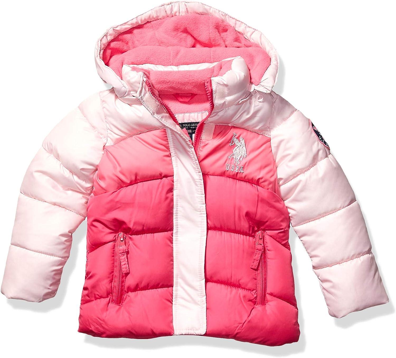 US Polo Association Girls Little Bubble Jacket 6X Signature Medium Pink