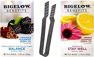 Bigelow Benefits Caffeine Free Herbal Tea 2 Flavor Variety with Teabag Squeezer Bundle: (1) Balance, and (1) Stay Well (18 Count Boxes)
