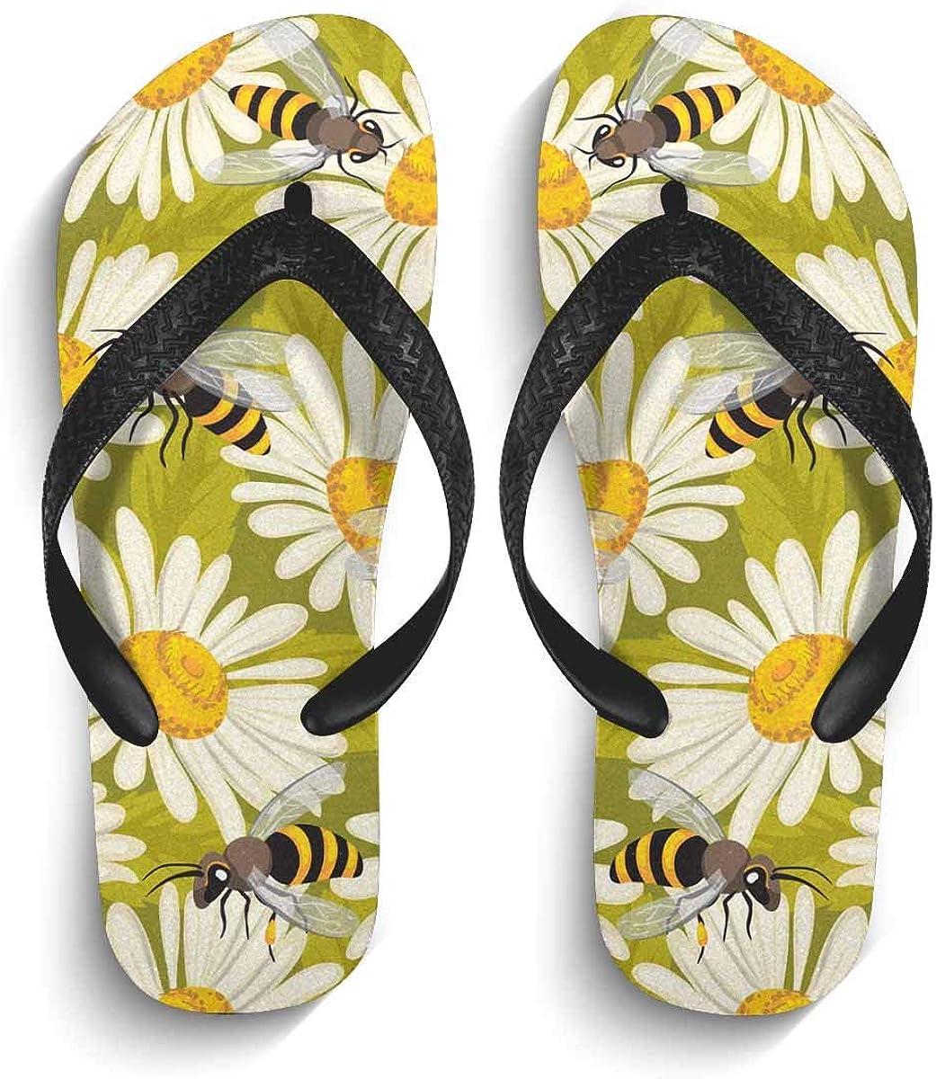 INTERESTPRINT Non-Slip Flip Flops Black Straps Cute Penguins on Pink Summer Beach Thong Sandal for Men