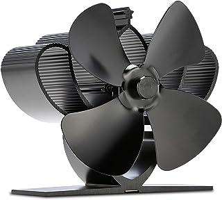Ventilador sin corriente, ventilador para chimenea, ventilador con 4 hojas, funcionamiento silencioso para estufa de leña (mini 4 hojas)