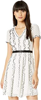 BCBGMAXAZRIA Women's Short Sleeve V-Neck Dress, Off-White Combo