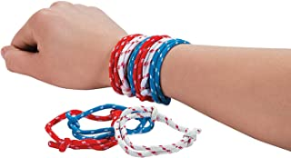 Fun Express 72 Piece Bulk Pack Patriotic 4th of July Wristband Red Blue and White Bracelets for Kids Party Favors