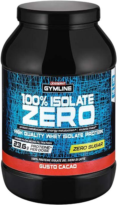 Whey protein isolate zero zuccheri gusto cacao 900 g enervit gymline 100% 975741479