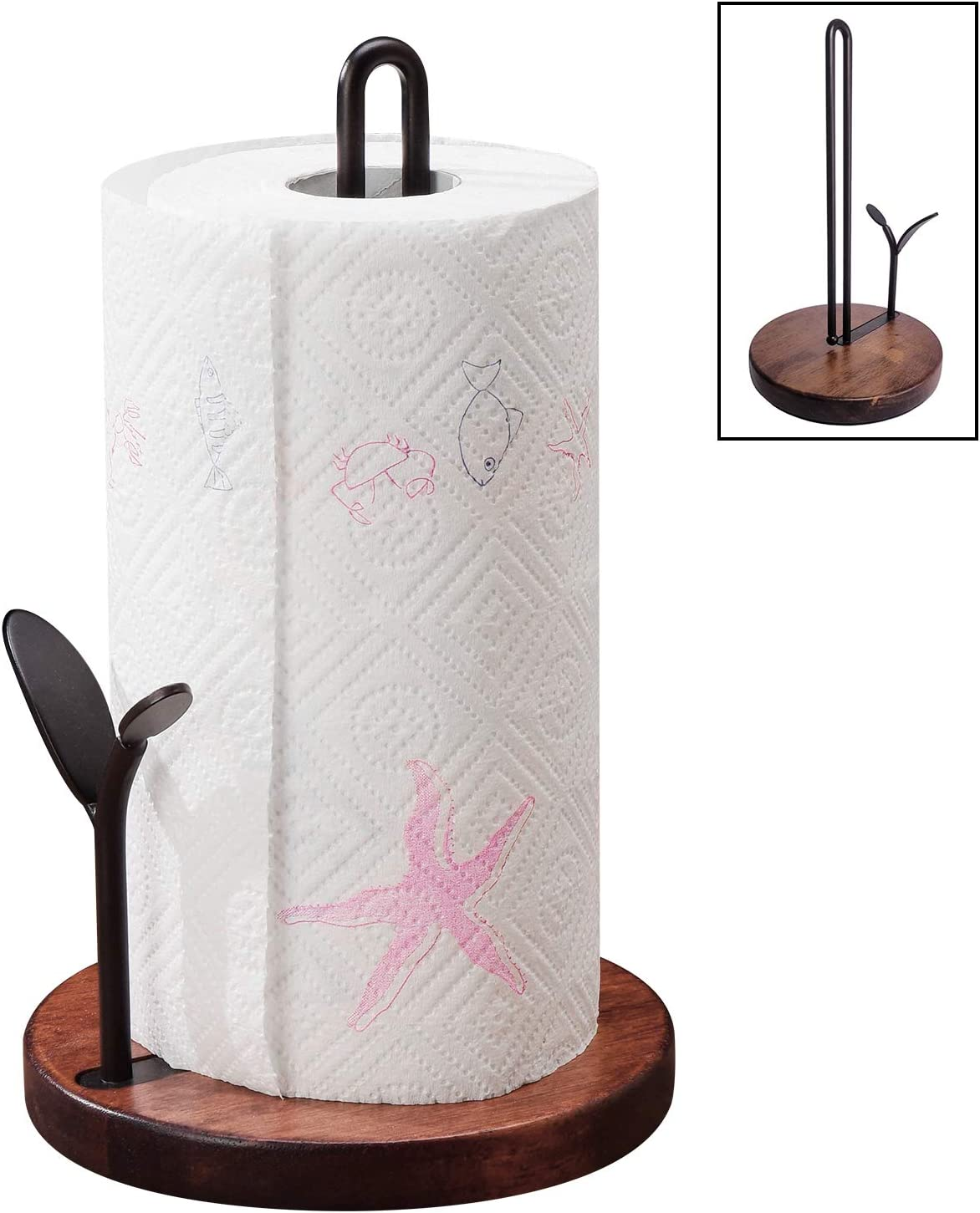 Paper Towel Holder YIWANFW Base Online limited product Ru Elegant Stand Wood