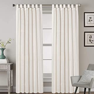 Linen Curtains Natural Linen Blended Curtains Tab Top Window Treatments Panels Drapes for Living Room / Bedroom, Elegant E...