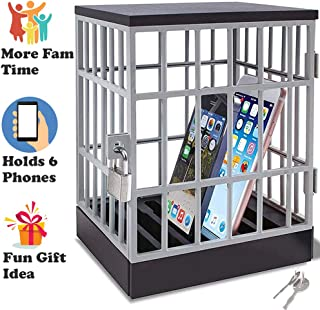 Cell Phone Jail - Lock Box Phone Gadget - Mobile Smartphone Locking Container - Prison Cell Cage with Lock and Key - Fun Novelty Gift Idea