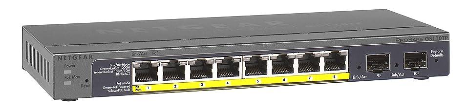 薄暗いオズワルドヘルメットNetgear GS110TP Switch 8p. 10/100/1000 PoE + 2xSFP