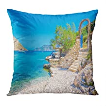 Llsty Throw Pillow Cover Polyester Print Stairs from Sandy Beach of Amazing Bay Greece Island Kalymnos Soft Square for Cou...