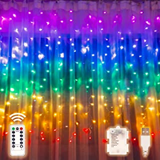 Rainbow Curtain Lights with Remote &Timer, USB or Battery Powered Twinkle LED Fairy Curtain Lights, Colorful Window Curtain String Lights for Bedroom Dorm Wall Unicorn Room Party Décor (7-Color)