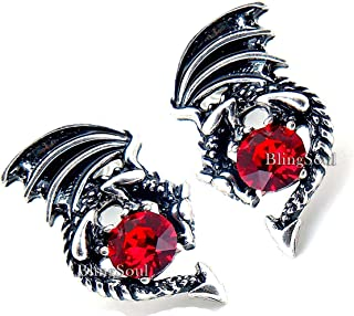 Game Merchandise Jewelry Earrings - Christmas Red Crystal Dragon Studs Thrones Costume for Women