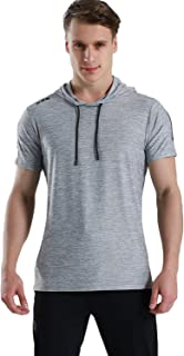 Men's Short Sleeve Sweatshirt Hooded Gym Sport Workout Athletic Pullover Hoodie