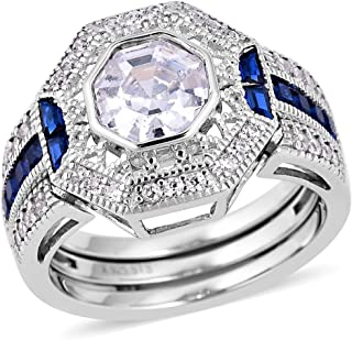 White Cubic Zirconia CZ Tanzanite Ring 925 Sterling Silver Jewelry for Women Size 7