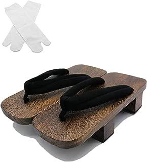 SSJ:Japanese Traditional Shoes Geta [ Mens 7-10 Size ] Wooden Clogs Sandals Tabi Socks Sets