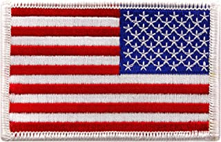 American Flag Embroidered Patch Reverse White Border US USA Iron-On Emblem