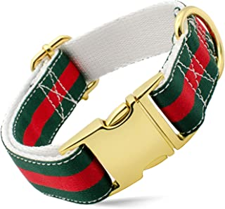 Designer Dog Collar and Leash Set, Adjustable with Gold Metal Hardware for Small Medium Large Dogs, 1'' Wide in Green, Red, White