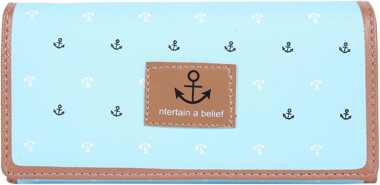 Damara Girls Student Anchor Printing Leather Bifold Clutch Purse,Light bluee