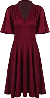 Vijiv Womens Vintage 1920s V Neck Rockabilly Swing Evening Party Cocktail Dress with Sleeves