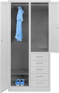 Armoire en métal avec 5 tiroirs - Armoire à outils - 2 compartiments - Revêtement en poudre - 185 cm x 90 cm x 45 cm - Gris