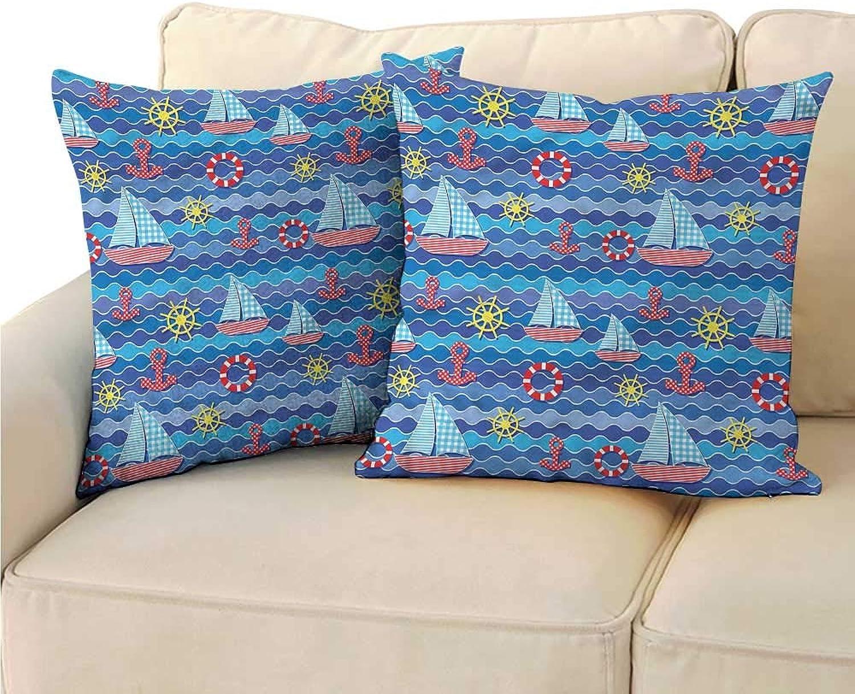Godves Soft Microfiber Pillowcase Set Kids Ahoy Anchor Ocean Sailboat for Sofa Bedroom Car 24 x24  2 Pcs
