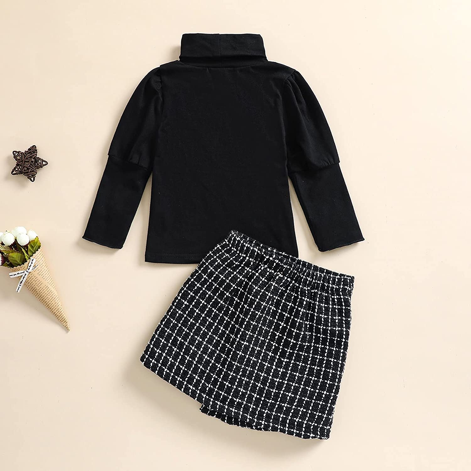 Toddler Baby Girl Fall Winter Clothes Turtleneck Solid Knit Pullover Tops Plaid Button Mini Skirts Set Outfits
