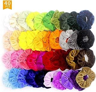 firstfly 40 Pcs Premium Velvet Hair Scrunchies Hair Bands Scrunchy Hair Ties Ropes Scrunchie for Women or Girls Kids Hair Accessories (40pcs)