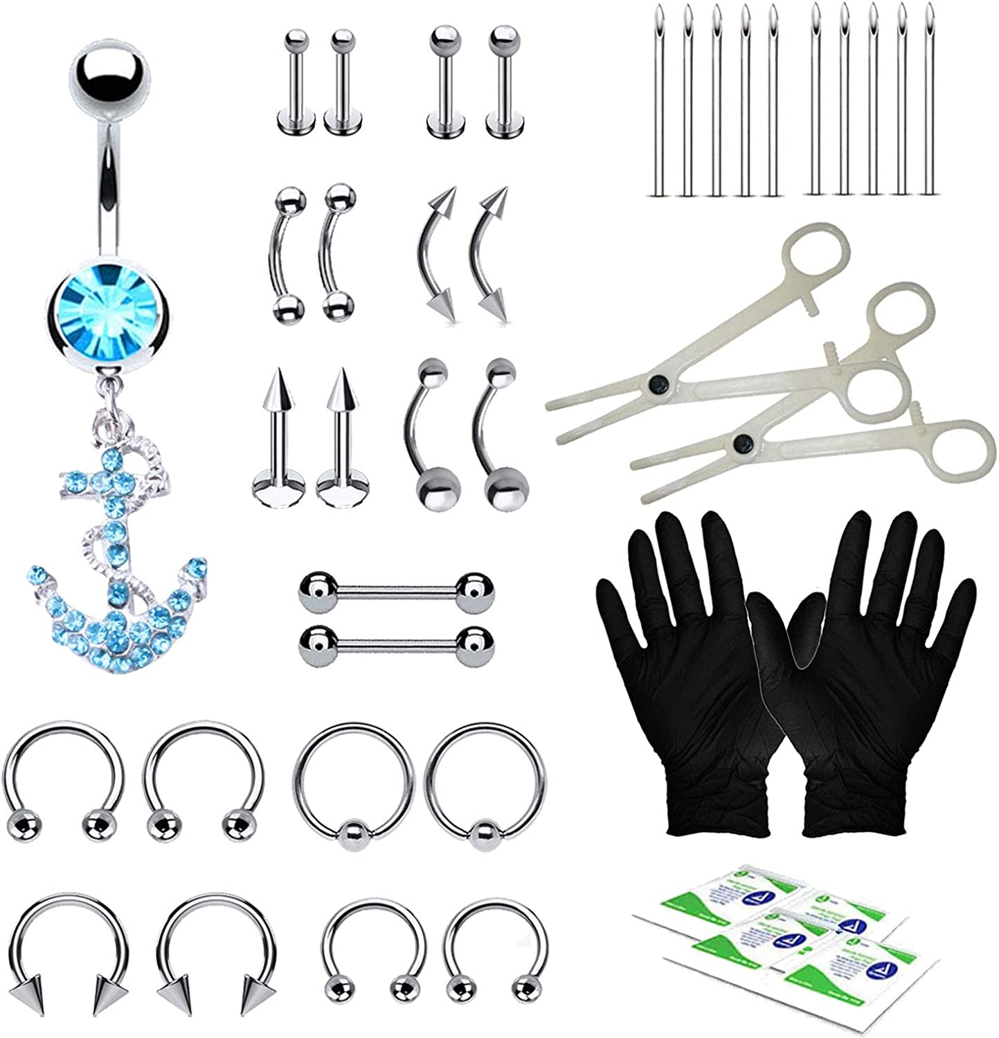 BodyJ4You 36PC PRO Piercing Kit Steel Max 58% OFF 14G Tongue Belly Ring 16G 100% quality warranty