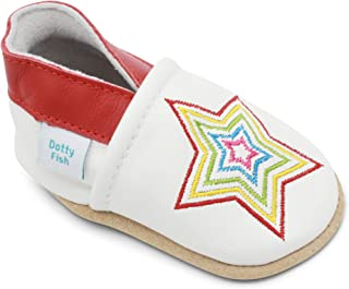 Dotty Fish Zapatos de Cuero Suave para bebés. 0-6 Meses a 4-5 Años. Antideslizante. Niños Primeros Pasos.