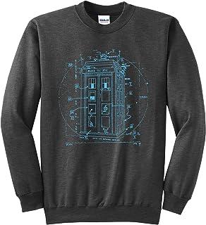 Police Call Box Sweatshirt - Da Vinci Vitruvian Style Crewneck