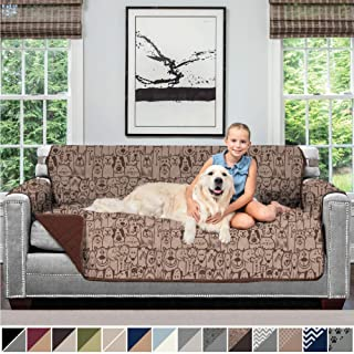 Sofa Shield Original Patent Pending Reversible Sofa Slipcover, 2 Inch Strap Hook, Seat Width Up to 70 Inch Furniture Protector, Couch Slip Cover Throw for Pets, Kids, Cats, Sofa, Dog Chocolate
