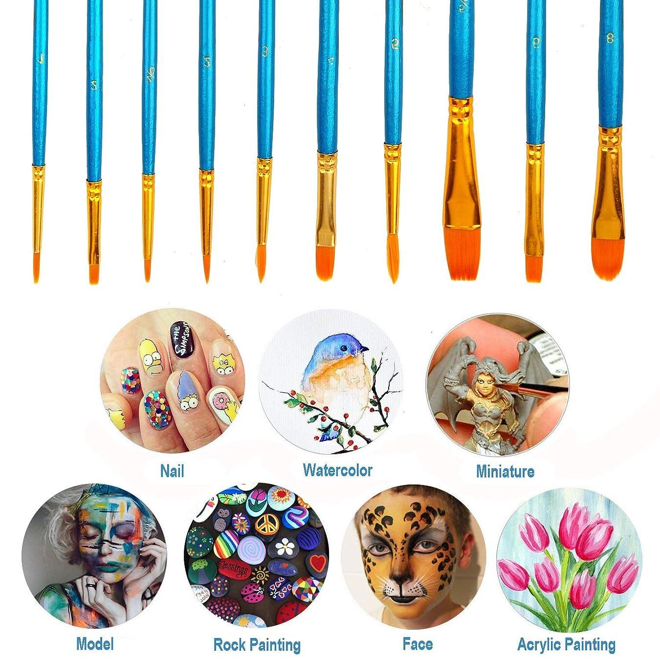 ミリメーターエミュレーションしみアーティストペイントブラシセット ナイロンヘアブラシ10本セット アクリル油絵 水彩画アーティストプロフェッショナルペイントキット 子供 学生 初心者向け