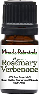 Miracle Botanicals Organic Rosemary Verbenone Essential Oil - 100% Pure Rosmarinus Officinalis Verbenone - Therapeutic Grade 5ml