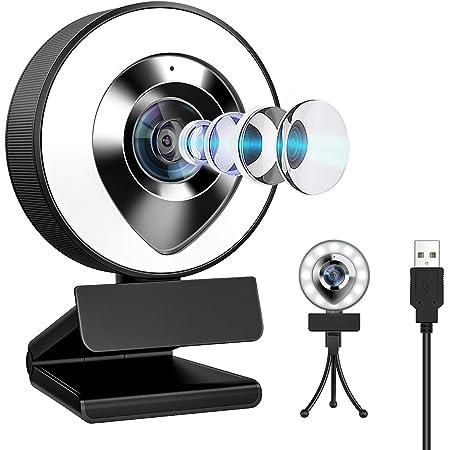 ウェブカメラ LEDライト フルHD 1080P 30FPS 200万画素 X-Kim webカメラ デュアルマイク内蔵 ノイズ対策 ストリーミング pcカメラ 外付け 広角 USBカメラ 三脚付き 小型 自動光補正 在宅勤務 テレワーク 挿すだけ使える 動画配信 ビデオ会議 オンライン授業 WindowsXP/7/8/10 AndroidTV skype Youtube zoom対応…