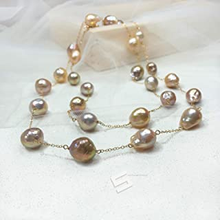 Metallic Broque Pearls Long Necklace, Fireball Pearls In 14K Gold Filled 2 Rows Necklace,Tin Cup Freshwater Cultured Pearls Necklace