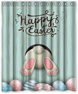 GCKG Happy Easter White Bunny Rabbit Pink Blue Eggs Wooden Background Shower Curtain 60x72 Inches