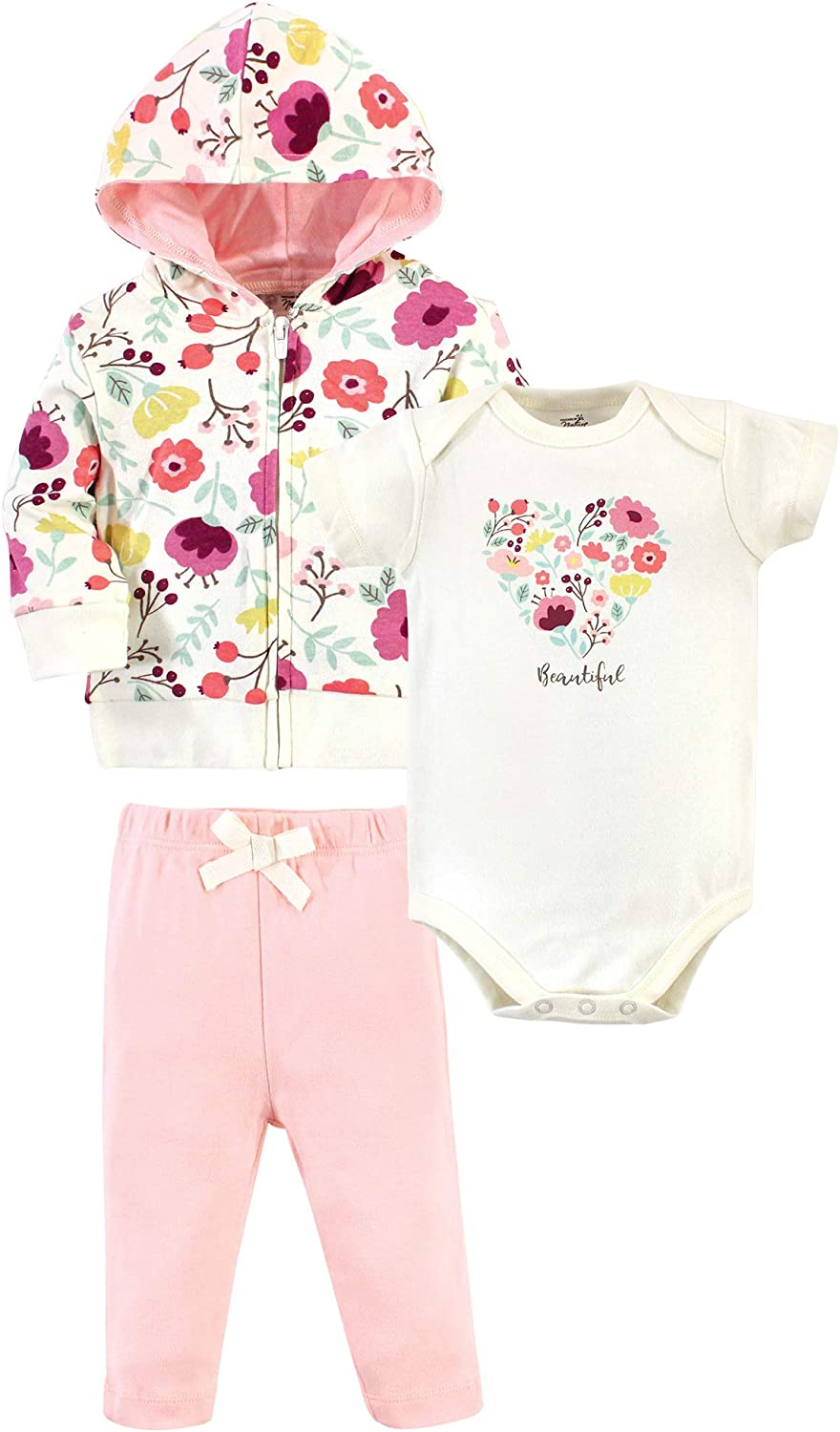 Touched by Nature baby-girls Organic Cotton Hoodie, Bodysuit Or Tee Top, and Pant