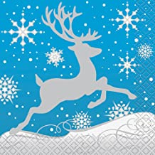 Silver Snowflake Christmas Beverage Napkins, 16ct