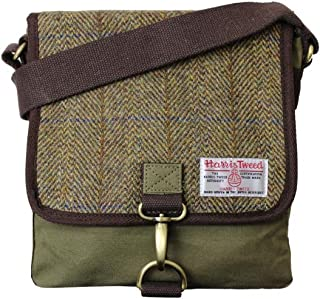 Harris Tweed Khaki Green Herringbone Overcheck Small Messenger Bag