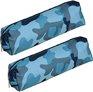 Pencil Case Holder Bag Pen Organizer Camo Zip Make-up Storage for School Supplies Office Stuff Blue,Pack of 2