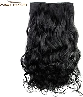 MAYCREATE AISI HAIR Long Curly Synthetic 5 Clips in Wig Extensions for Women (#01)