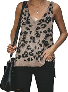 Women's Casual Leopard High Low Hem Fuzzy Camisole V Neck Knitted Sweater Tops Cutout Tanks Sleeveless Shirt