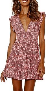 Women's Beach Dress Floral Print V Neck Sexy Short Sleeve Bohemian Elegant Short Summer Dress with Ruffles