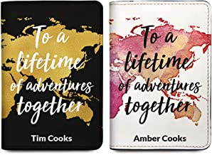 His & Her Personalized Passport Holder Cover - Customized Travel Gift For Couples