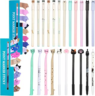 PORTOWN 22 Pcs Cute Cat Pens Kawaii Pen Cats Design Gel Ink Pens Cute Stationary Black Writing Pen and 720 Pcs Cute Cat Sticky Notes Page for Cat Lovers Kids Stationery School Office Supplies