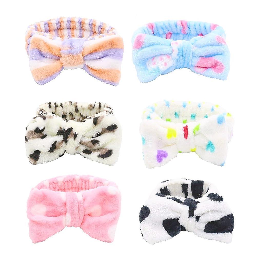 Bow Hair Band, Soft Carol Fleece Hairlace Headband Turban Bowknot Bow Makeup Shower Headbands Headwraps for Washing Face Shower Spa Mask, Multiple Styles, 6PCS