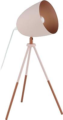 Eglo 49038 Lampe de Table, Acier, 60 W, Pastell Apricot, Kupfer