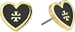 Tory Burch Lacquered Logo Heart Stud Earrings