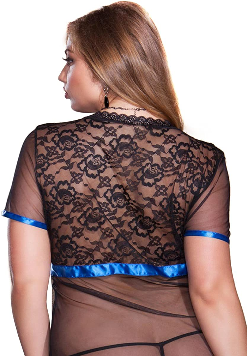iCollection Womens Plus Size Lace and Mesh Short Sleeve Satin Trimmed Robe