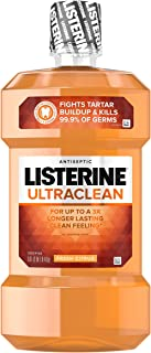 Listerine Ultraclean Oral Care Antiseptic Mouthwash to Help Fight Bad Breath Germs, Gingivitis, Plaque and Tartar, Oral Ri...